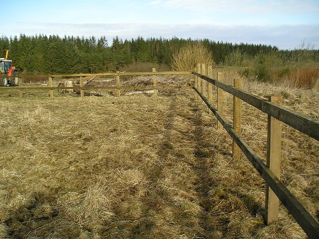 Wooden post and trail fencing being built at Frugaldom