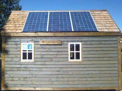 Solar panels on a tiny house