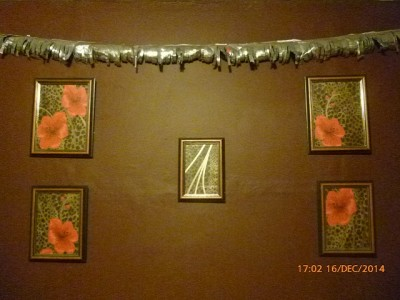 The completed homemade Christmas garland