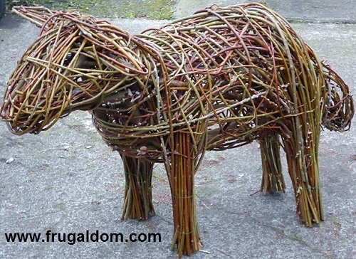 Willow sheep for the Frugaldom eco arts garden