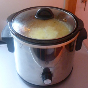 Soup making in a slow cooker