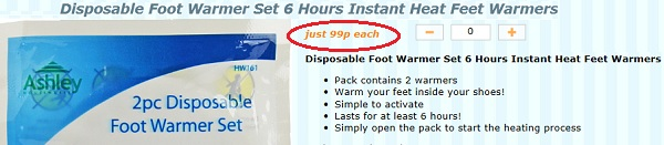 Disposable foot warmer set 99p
