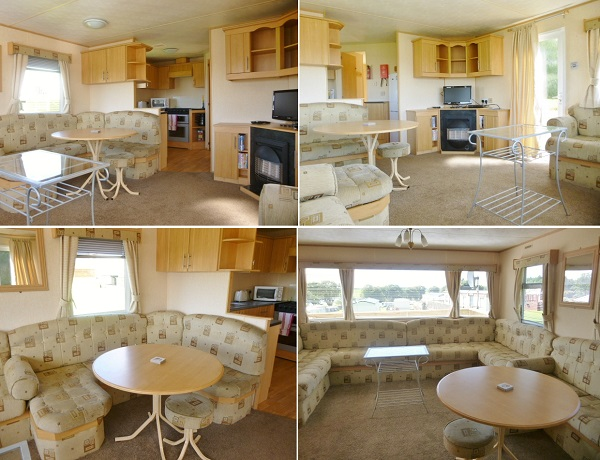 Living room and dining area in the 2-bedroom caravan