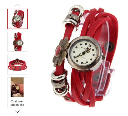 Red leather fashion watch